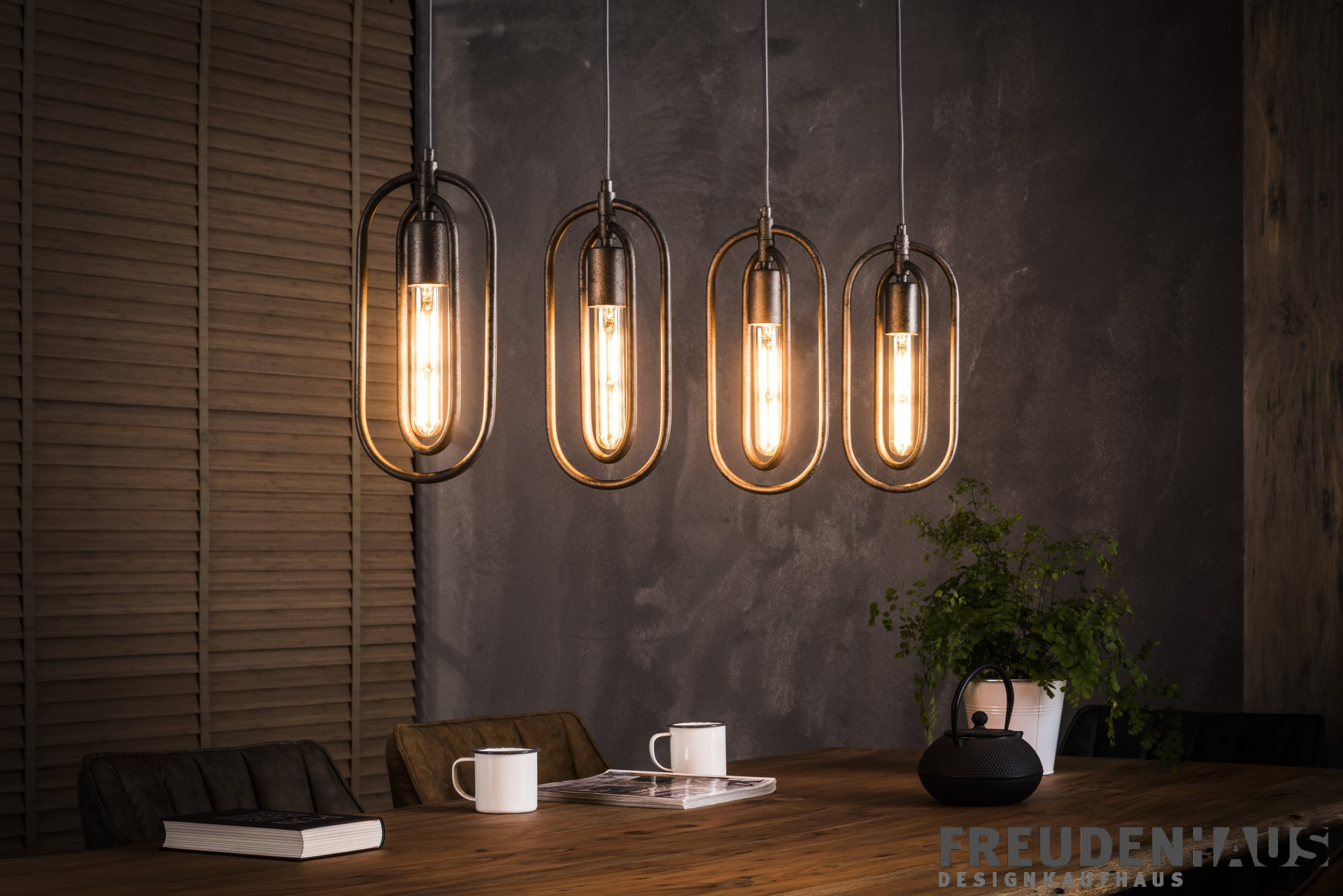 h ngelampe loops industrial 4er edison vintage incl gl hfadenlampen wohnaccessoires. Black Bedroom Furniture Sets. Home Design Ideas