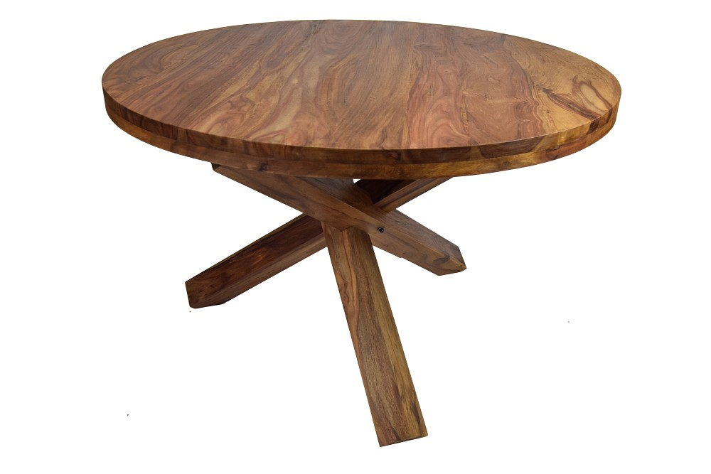 Esstisch massivholz rund sheesham rondo 120 m bel for Esszimmertisch rund ausziehbar