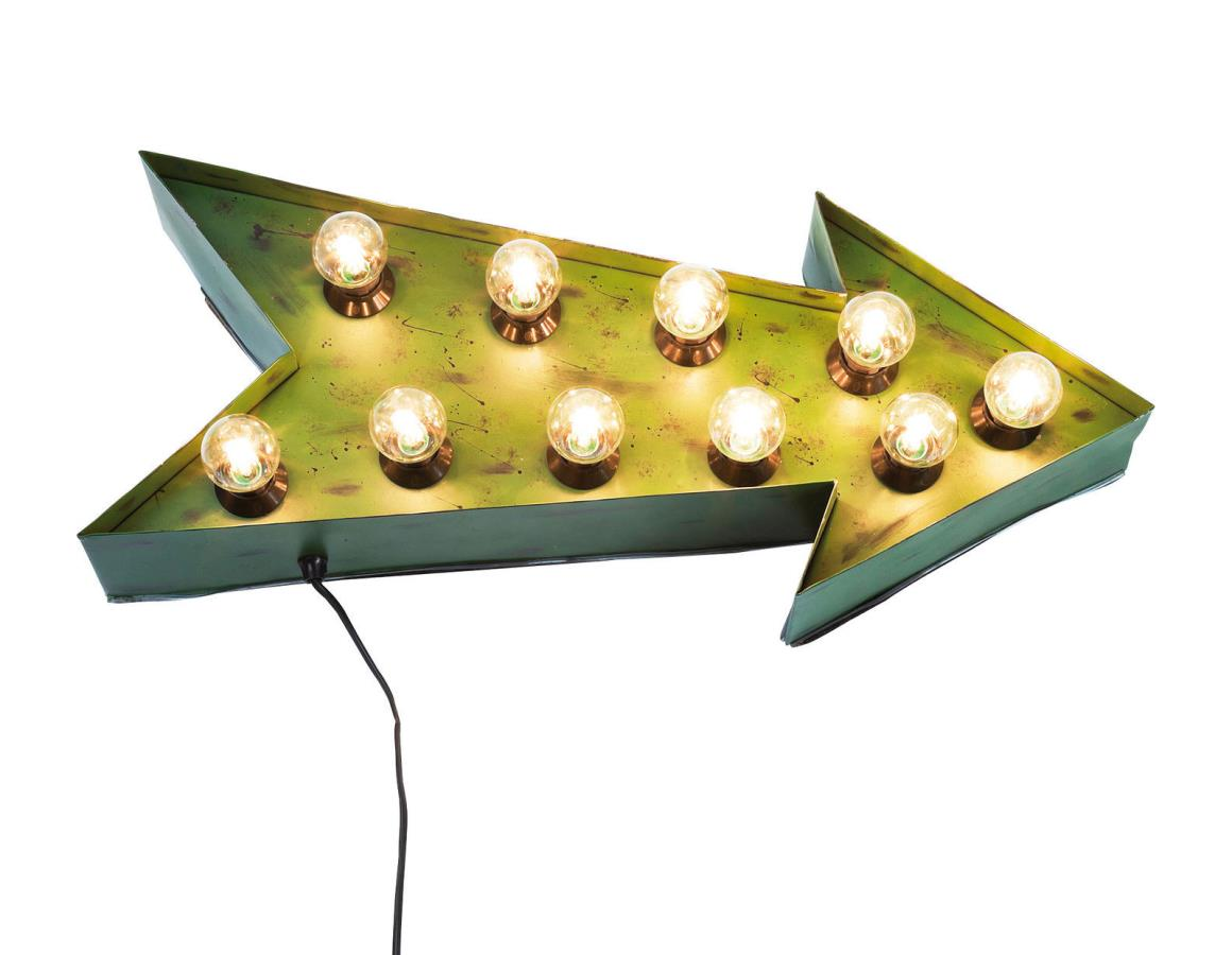 Kare leuchtobjekt arrow pfeil vintage gr n for Vintage wohnaccessoires