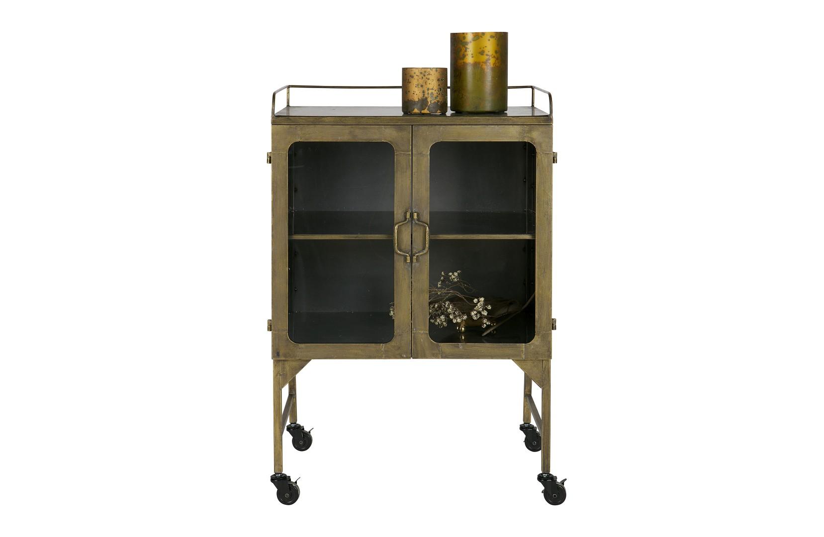 vintage vitrine kommode talent brass messing auf rollen m bel regale vintagehaus. Black Bedroom Furniture Sets. Home Design Ideas