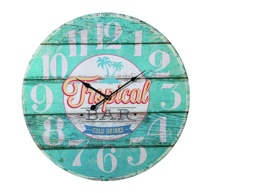 Vintage wanduhr tropical bar holz xl wohnaccessoires for Vintage wohnaccessoires