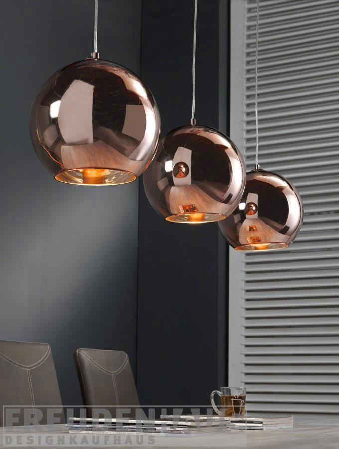 h ngelampe retro ball 3 kugeln kupfer wohnaccessoires. Black Bedroom Furniture Sets. Home Design Ideas
