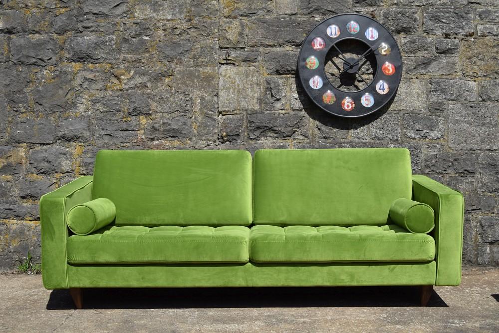 sofa venice vintage samt gr n 3 sitzer 230 m bel. Black Bedroom Furniture Sets. Home Design Ideas
